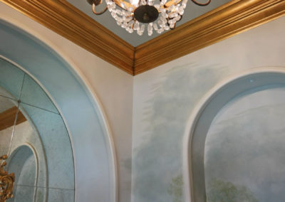 Gilded Crown Molding and Hand Painted Mural, New Orleans